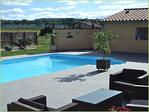 Plages de piscine en agrégat de marbre gris