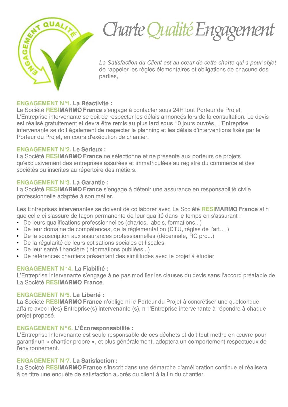 Charte qualité - Engagement RESIMARMO