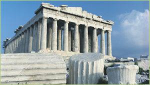 Le Parthénon sur l'Acropole. Tout de marbre blanc du Pentélique et de Paros